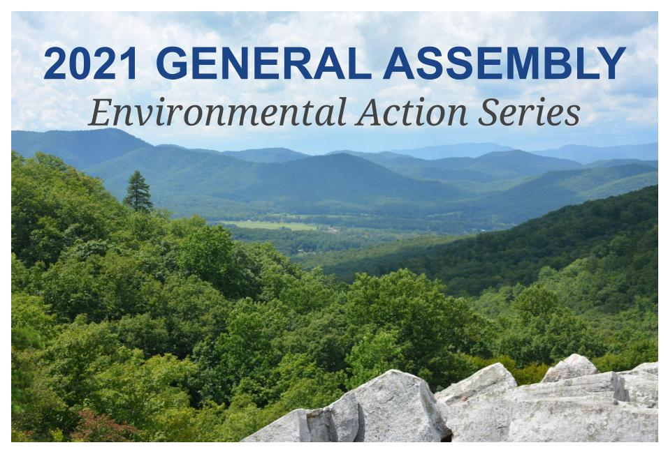 Image of mountains with text that reads: 2021 General Assembly, Environmental Action Series
